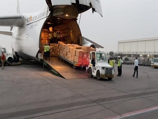 A special cargo for medical aid of 157 ventilators, 480 BiPAPs and other medical supplies arrived from UAE to India on April 29