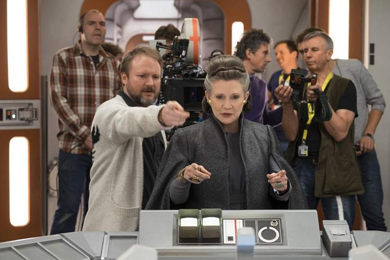 Rian Johnson and Carrie Fisher on the set of The Last Jedi