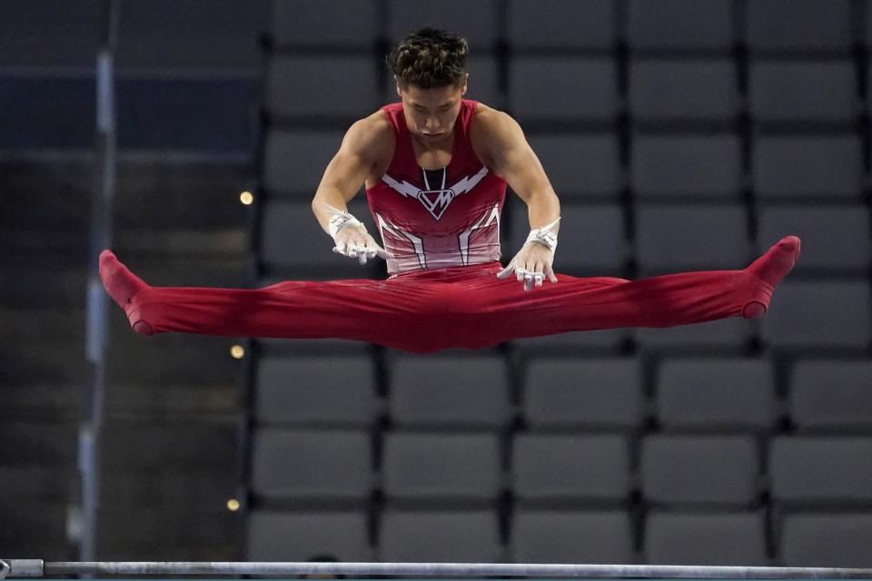 Yul Moldauer competes on the high bar during the U.S. Gymnastics Championships, Saturday, June 5, 2021, in Fort Worth, Texas. (AP Photo/Tony Gutierrez)