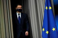 European Commission Vice-President Valdis Dombrovskis holds a news conference in Brussels