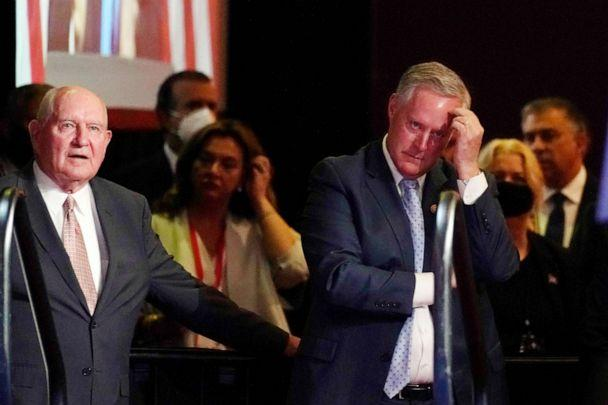 PHOTO: Agriculture Secretary Sonny Perdue and Chief of staff Mark Meadows listens as President Donald Trump speaks at the 2020 Republican National Convention in Charlotte, N.C., Aug. 24, 2020. (Andrew Harnik/AP)
