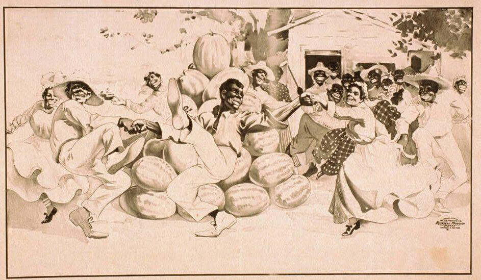 "This 1900 lithograph is called ""African Americans dancing around a pile of watermelons."" (Photo: Library of Congress)"
