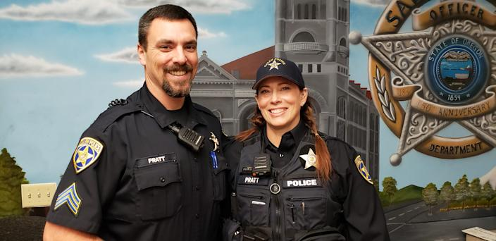 Salem Police Sgt. Jacob Pratt and Officer Michelle Pratt on Dec. 2, 2019, just before her first shift back on patrol after being shot four times during a traffic stop. They will have been married two years in June.