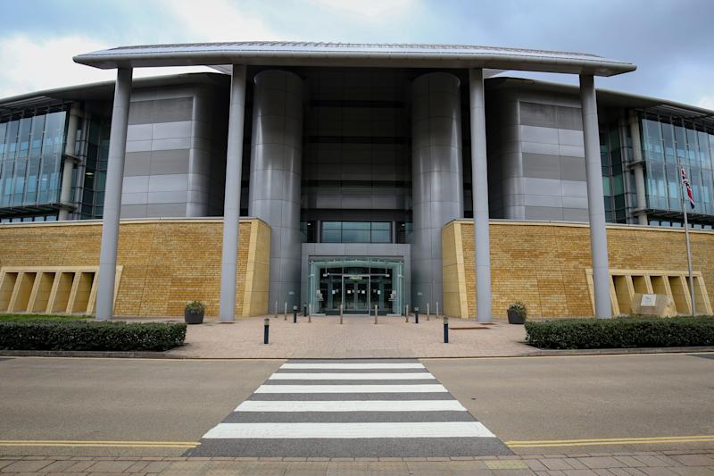 The main entrance to Government Communications Headquarters, commonly known as GCHQ, the intelligence and security organisation responsible for providing signals intelligence and information assurance to the government and armed forces of the United Kingdom, based in Cheltenham.