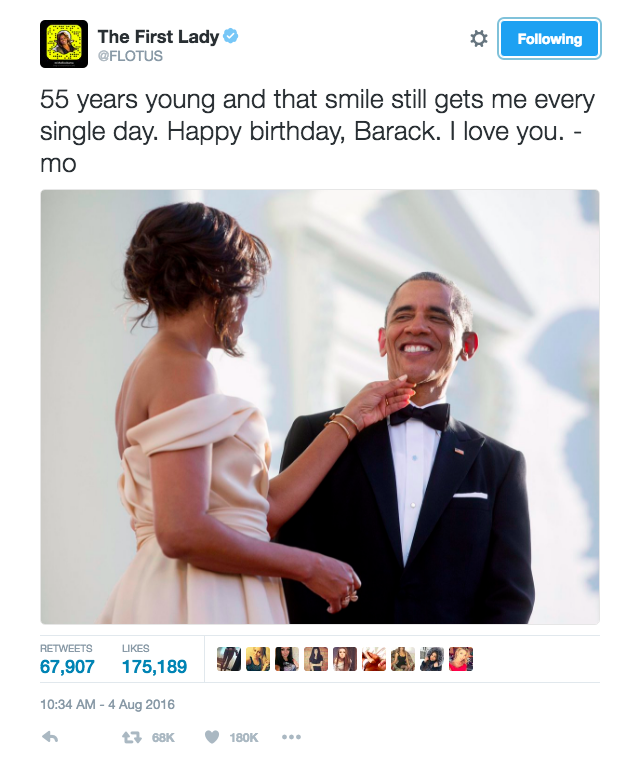 """<p>When Michelle tweeted the sweetest picture and birthday message to Barack saying, """"55 years young and that smile still gets me every single day. Happy birthday, Barack. I love you - mo"""" [Photo: Twitter/FLOTUS]</p>"""