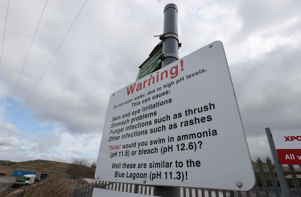 General view of a sign at the Blue Lagoon of Buxton as the spread of the coronavirus disease (COVID-19) continues, Buxton, Britain, March 28, 2020. REUTERS/Carl Recine