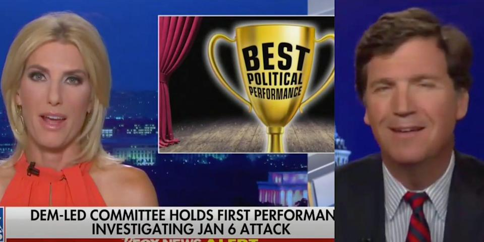 """Two screenshots of Laura Ingraham and Tucker Carlson on their Fox News shows Tuesday 27 July 2021. Ingraham is displaying a graphic of a trophy that reads """"Best Political Performance"""""""