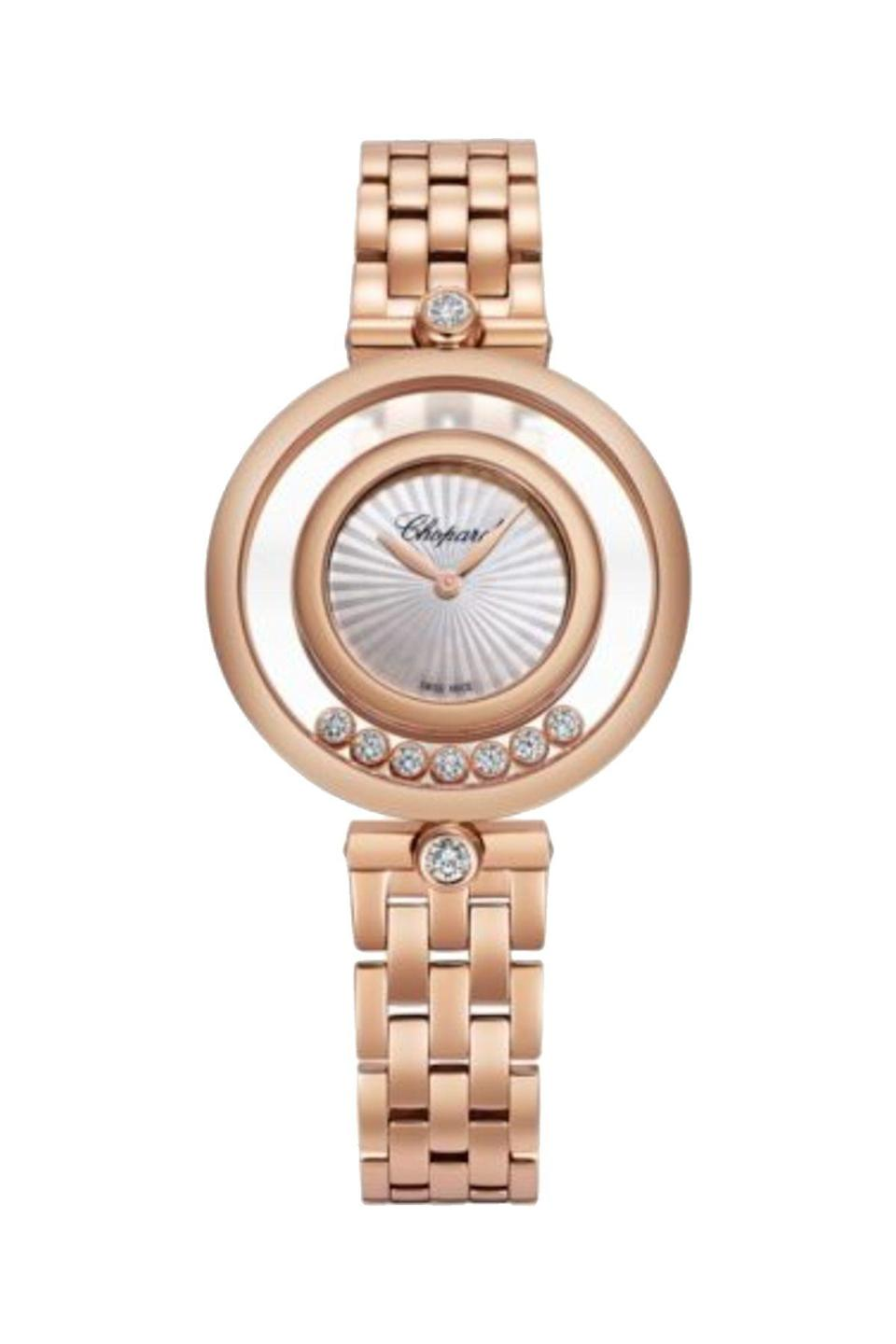 """<p><strong>Chopard</strong></p><p>chopard.com</p><p><strong>$22200.00</strong></p><p><a href=""""https://www.chopard.com/us/happy-diamonds-icons-209426-5002"""" rel=""""nofollow noopener"""" target=""""_blank"""" data-ylk=""""slk:Shop Now"""" class=""""link rapid-noclick-resp"""">Shop Now</a></p><p>Dainty and delicate, this watch will make you smile every time you gaze at it. </p>"""