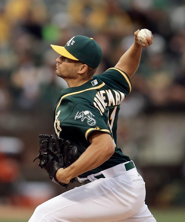 Oakland Athletics pitcher Kendall Graveman works against the Toronto Blue Jays in the first inning of a baseball game Tuesday, July 21, 2015, in Oakland, Calif. (AP Photo/Ben Margot)