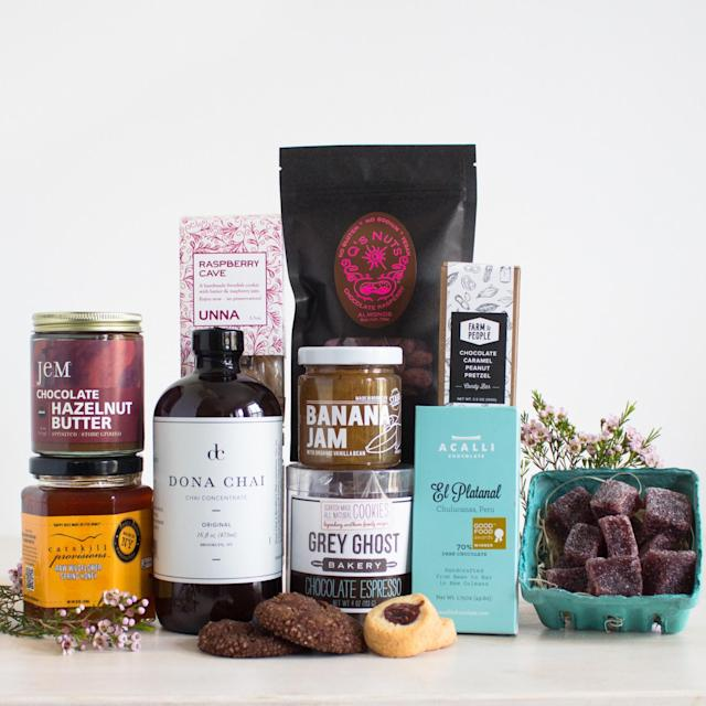 "<p>This small-batch food gift set is pretty awesome! Stocked with yummy espresso cookies, raspberry almonds, chai tea, wildflower honey, and more, there's more than enough here for moms to savor. Farm to People the Mother Load, $106, <a href=""https://www.farmtopeople.com/collections/bundles-gifts/products/the-mother-load"" rel=""nofollow noopener"" target=""_blank"" data-ylk=""slk:farmtopeople.com"" class=""link rapid-noclick-resp"">farmtopeople.com</a> </p>"