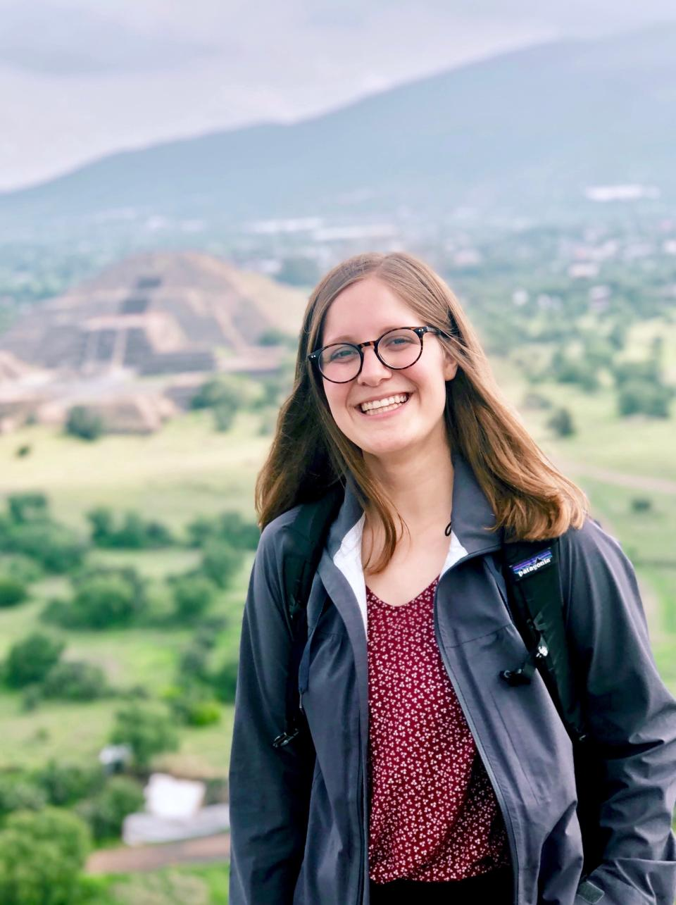 This photo provided by Hattie Seten shows Hattie Seten of Sioux Falls, S.D., who was named a Rhodes Scholar on Sunday, Nov. 22, 2020. She is a senior at South Dakota State University and the first Rhodes scholarship winner from the school in 68 years. (Hattie Seten via AP)
