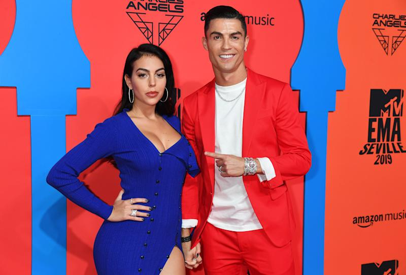 SEVILLE, SPAIN - NOVEMBER 03: Georgina Rodriguez and Cristiano Ronaldo attend the MTV EMAs 2019 at FIBES Conference and Exhibition Centre on November 03, 2019 in Seville, Spain. (Photo by Jeff Kravitz/FilmMagic)