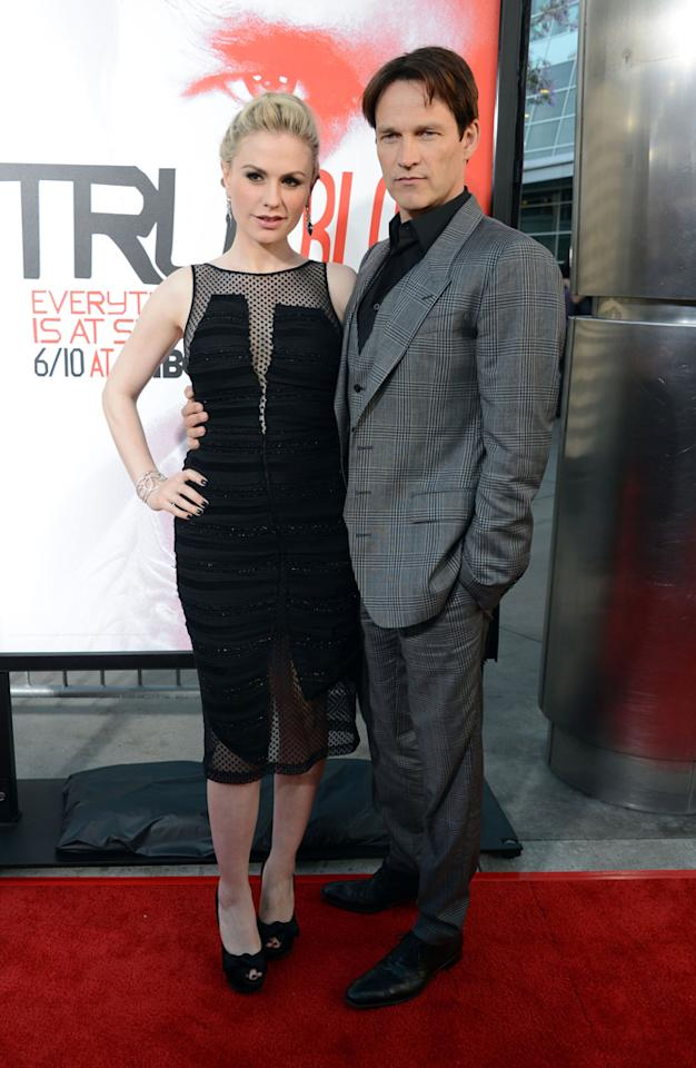 "Anna Paquin and Stephen Moyer attend HBO's ""True Blood"" Season 5 Los Angeles premiere at ArcLight Cinemas Cinerama Dome on May 30, 2012 in Hollywood, California."