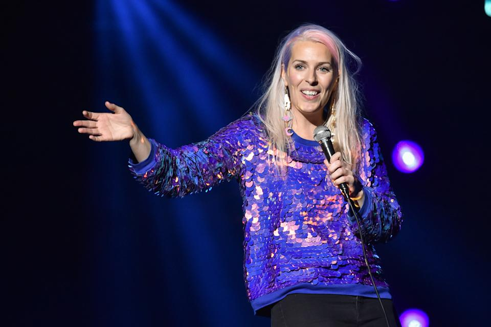 Sara Pascoe on stage during the comedy night of the Teenage Cancer Trust annual concert series, at the Royal Albert Hall in London. Picture date: Tuesday March 20th, 2018. Photo credit should read: Matt Crossick/ EMPICS Entertainment.