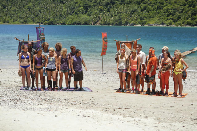 """Second Episode"" - The Bikal and the Gota Tribes stand on the beach before the Immunity challenge on the second episode of ""Survivor: Caramoan - Fans vs. Favorites."""