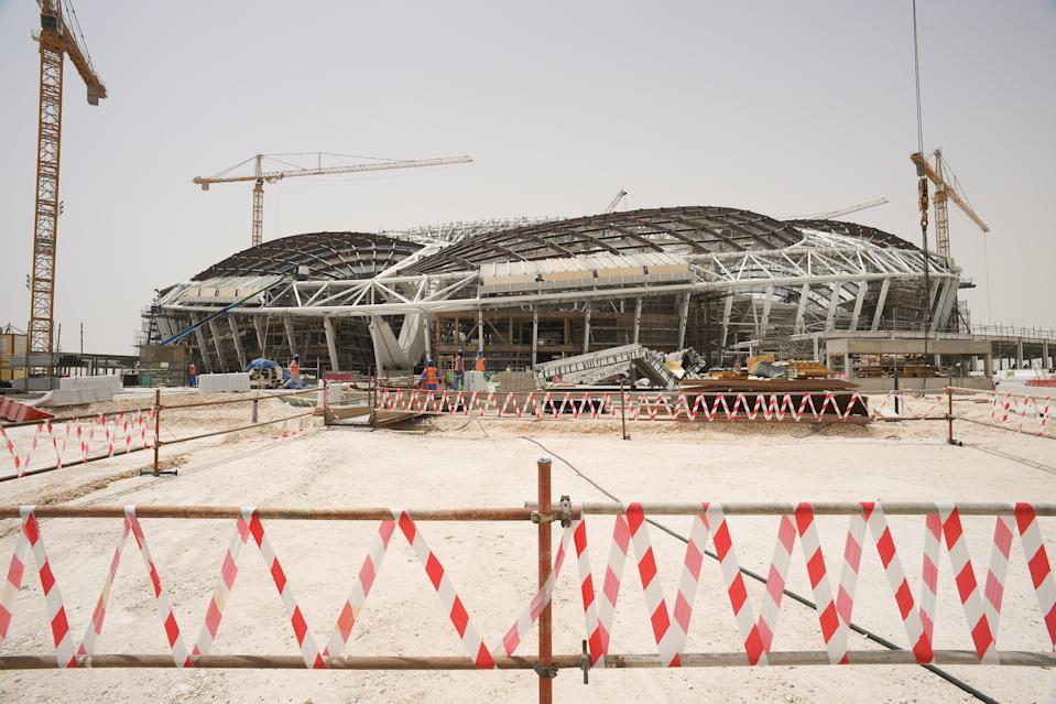 AL WAKRAH, QATAR - MAY 14, 2018: A view of the construction site of Al Wakrah Stadium designed by Iraqi-British architect Zaha Hadid, a venue for 2022 FIFA World Cup football matches. Qatar is to host the FIFA World Cup in late 2022. Mikhail Aleksandrov/TASS (Photo by Mikhail Aleksandrov\TASS via Getty Images)