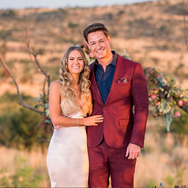 A photo of Matt Agnew and Chelsie McLeod on the finale of The Bachelor Australia.