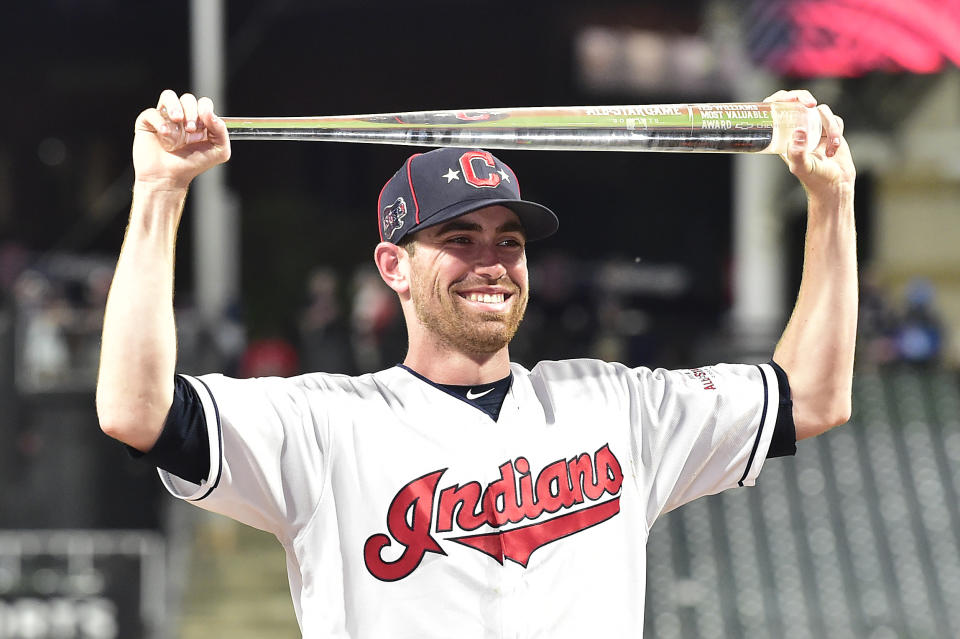 CLEVELAND, OHIO - JULY 09: Shane Bieber #57 of the Cleveland Indians and the American League poses with the Major League Baseball All-Star Game Most Valuable Player Award after the 2019 MLB All-Star Game, presented by Mastercard at Progressive Field on July 09, 2019 in Cleveland, Ohio. (Photo by Jason Miller/Getty Images)