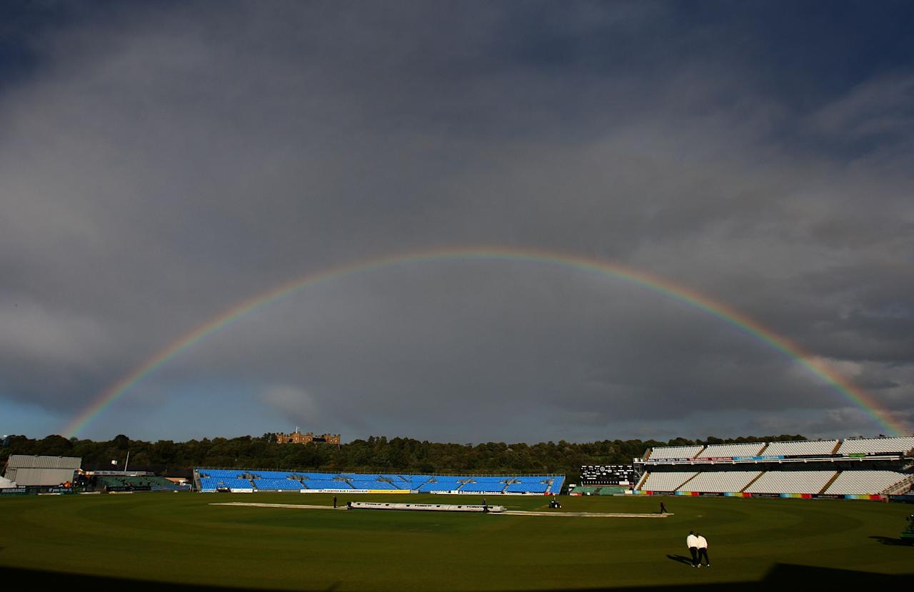 CHESTER-LE-STREET, ENGLAND - SEPTEMBER 14:  EMBER 14:  A rainbow appears over the ground as rain stops play during Day two of the  LV County Championship Division One match between Durham and Somerset at Emirates Durham International Cricket Ground on September 14, 2010 in Chester-Le-Street, England.  (Photo by Stu Forster/Getty Images)