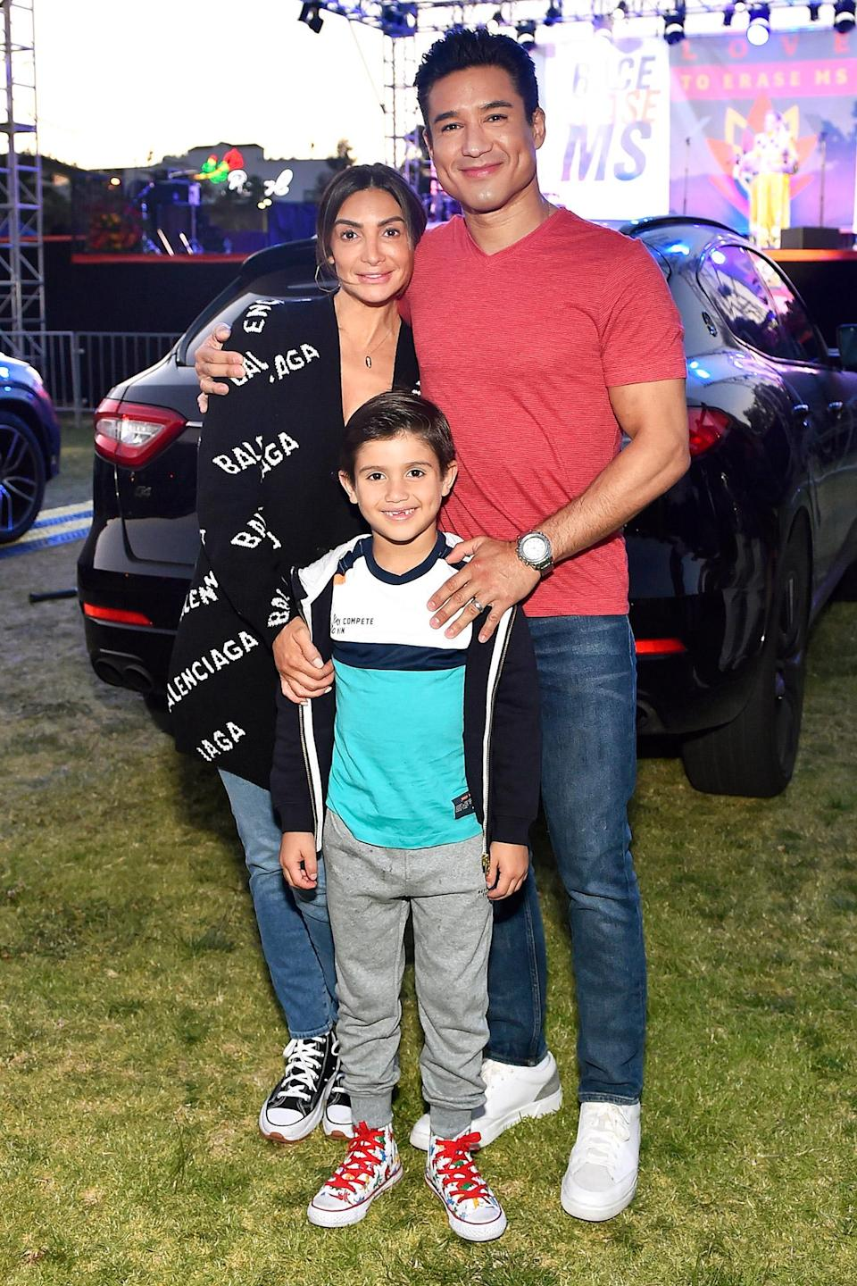 <p>Mario Lopez attends the 28th Annual Race to Erase MS: Drive-In Gala at the Rose Bowl with his wife Courtney and their son Dominic on June 4 in Pasadena, California. </p>