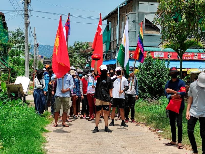 Demonstrators march to protest against the military coup, in Dawei