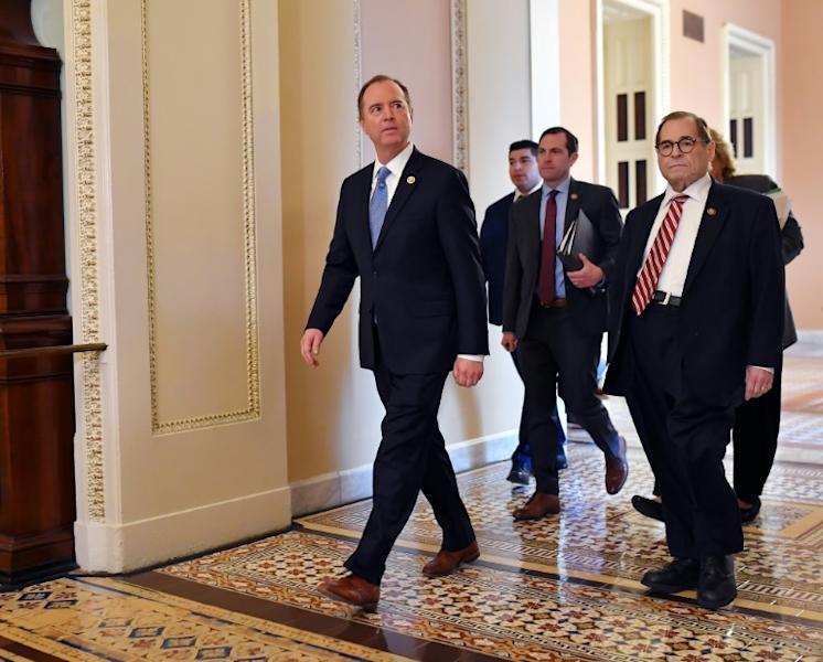 Lead House Impeachment managers Adam Schiff (L) and Jerry Nadler (R) arrive at the US Capitol to present the case to the Senate to remove President Donald Trump (AFP Photo/Mandel NGAN)