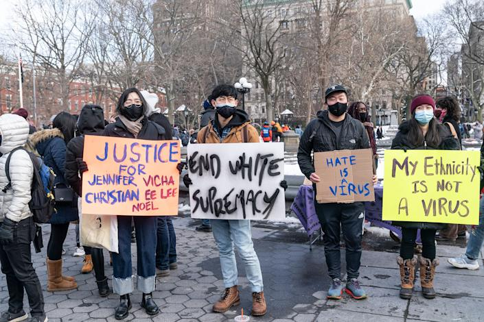 More than 200 people gather in Washington Square Park in New York City on Feb. 20 to rally in support of the Asian community and against hate crimes and white nationalism. (Photo: Pacific Press/Getty Images)