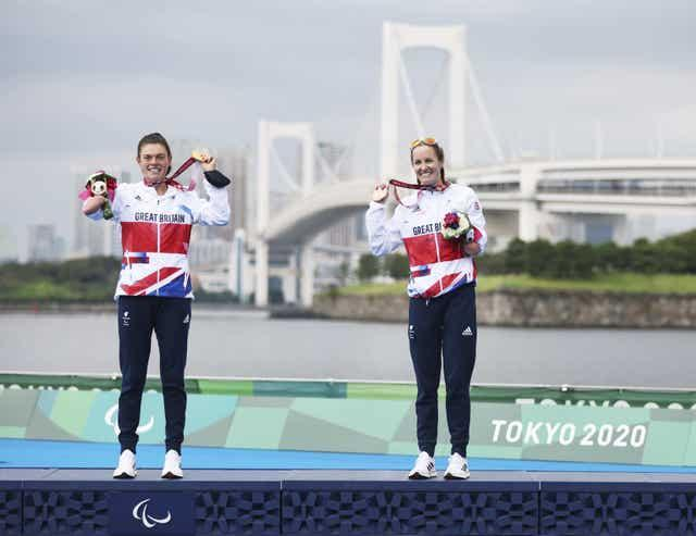 Lauren Steadman, left, and Claire Cashmore, right, on the podium