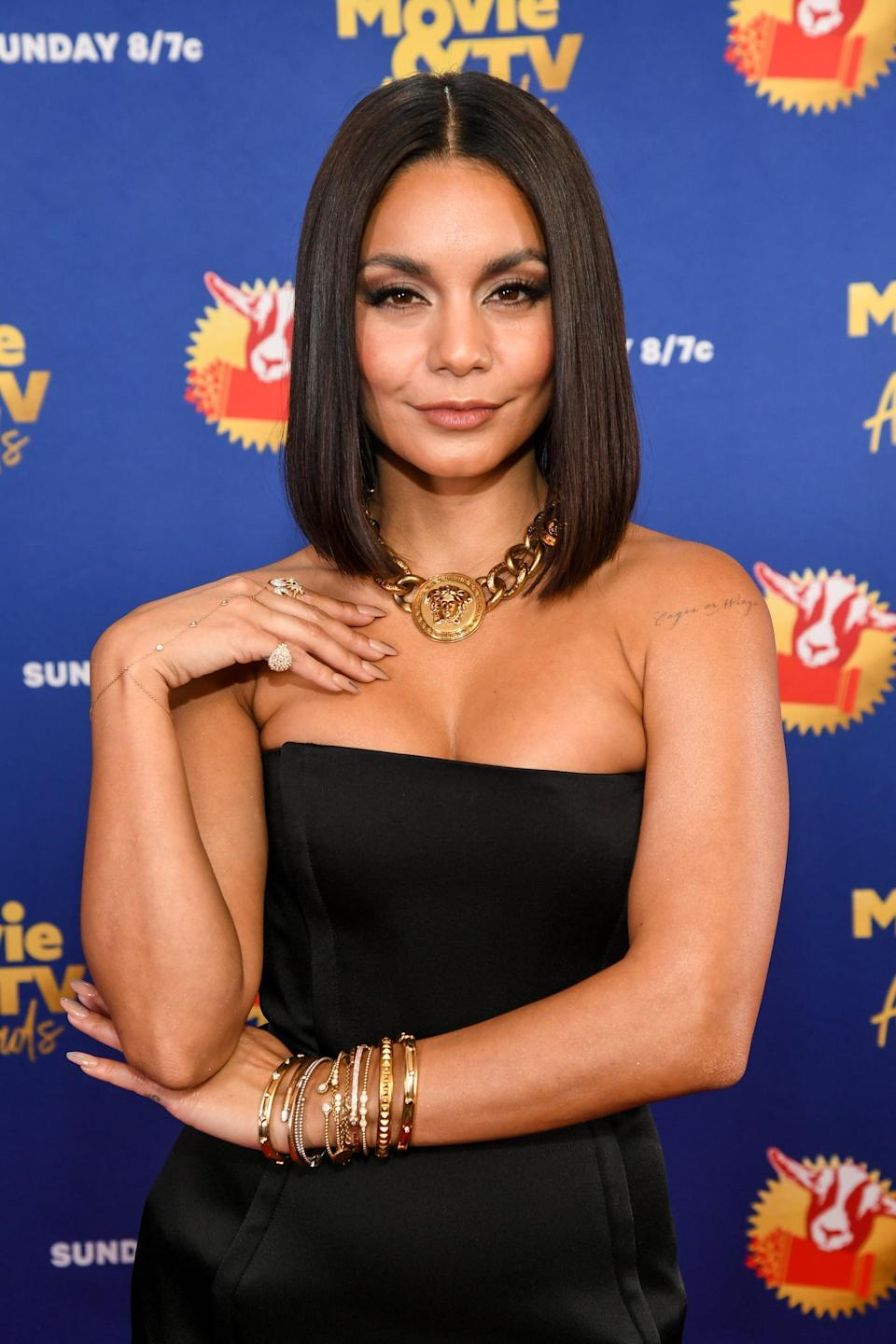 "<p><a class=""link rapid-noclick-resp"" href=""https://www.popsugar.com/Vanessa-Hudgens"" rel=""nofollow noopener"" target=""_blank"" data-ylk=""slk:Vanessa Hudgens"">Vanessa Hudgens</a> styled her hair in a long bob with a middle part for the 2020 MTV Movie &amp; TV Awards.</p>"