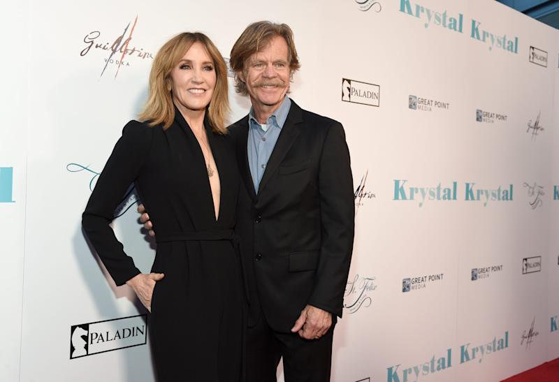 "Felicity Huffman and William H. Macy arrive at the Los Angeles premiere of ""Krystal"" on April 5, 2018."