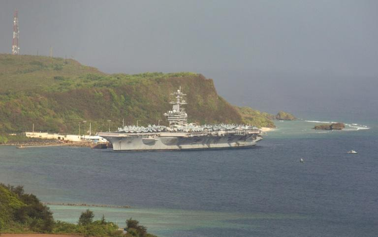 The nuclear powered aircraft carrier USS Theodore Roosevelt is docked at the US naval base in Guam for cleaning after a sweeping COVID-19 outbreak amond the nearly 5,000 crew