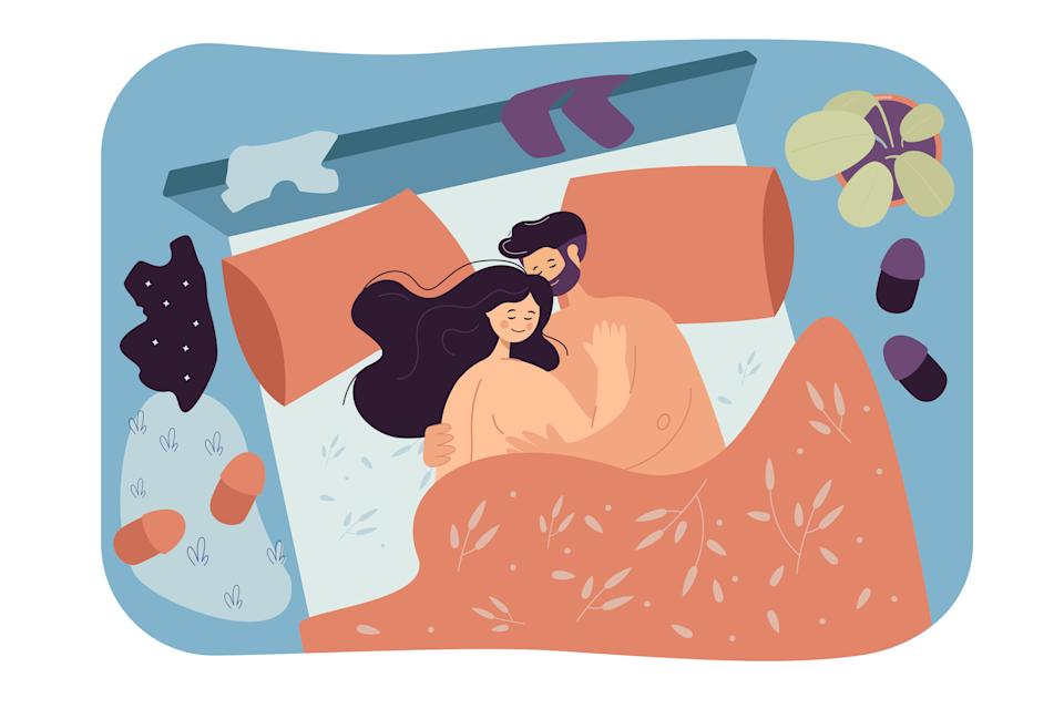 Loving couple lying in bed together. Flat vector illustration. Man and woman cuddling after sex with clothes scattered on floor. Intimacy, sex, love, relationship, romance concept for banner design