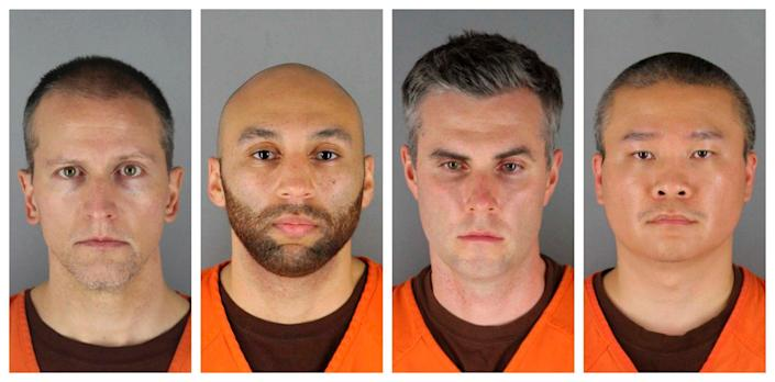 This combination of photos provided by the Hennepin County Sheriff's Office in Minnesota shows Derek Chauvin, left, J. Alexander Kueng, Thomas Lane and Tou Thao - Hennepin County Sheriff's Office