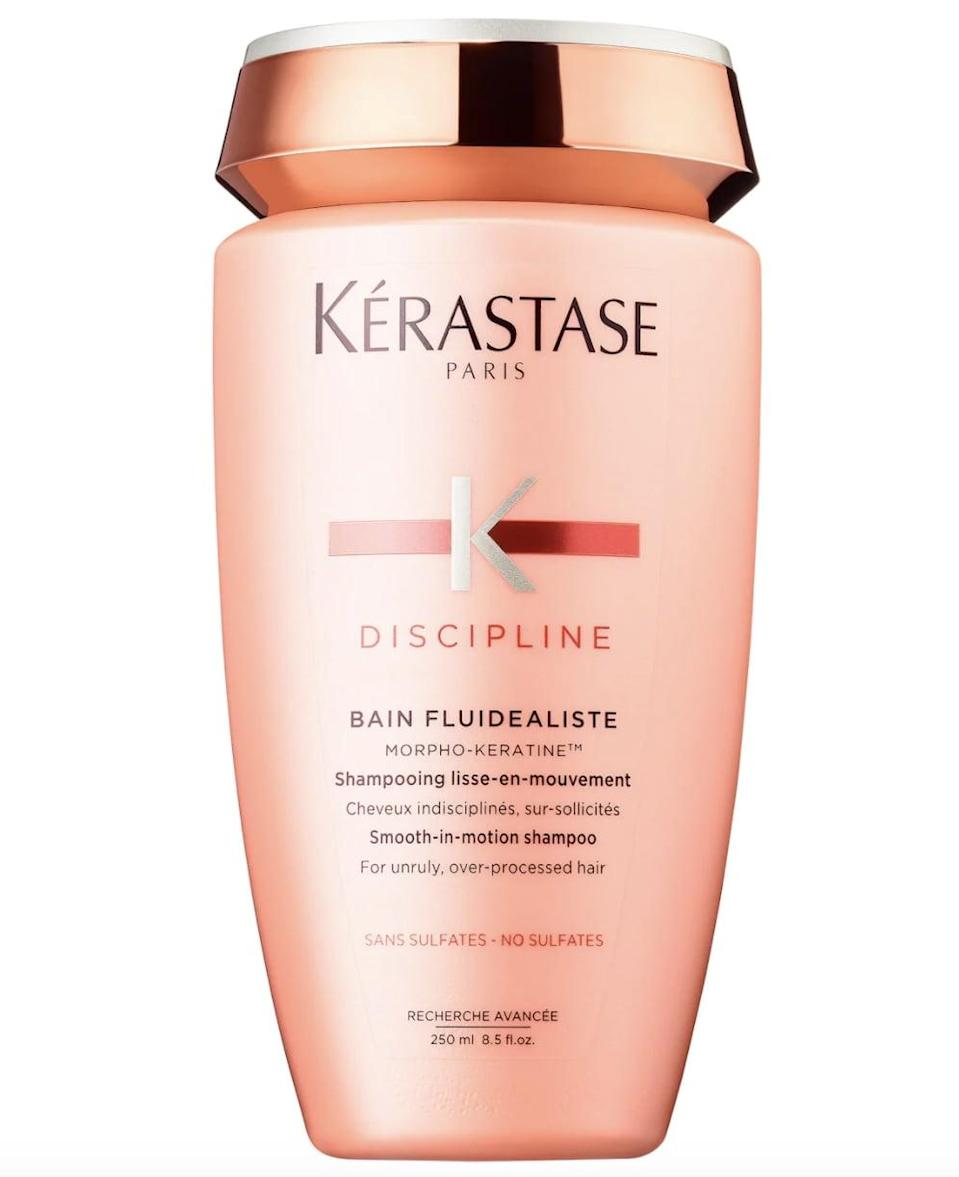 <p>Best for curly and wavy hair types, the <span>Kérastase Discipline Sulfate Free Smoothing Shampoo</span> ($35) was created to soften and smooth the hair while also addressing damage, breakage, and split ends. </p>