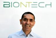 FILE PHOTO: Ugur Sahin, CEO and co-founder of German biotech firm BioNTech, is interviewed by journalists in Marburg