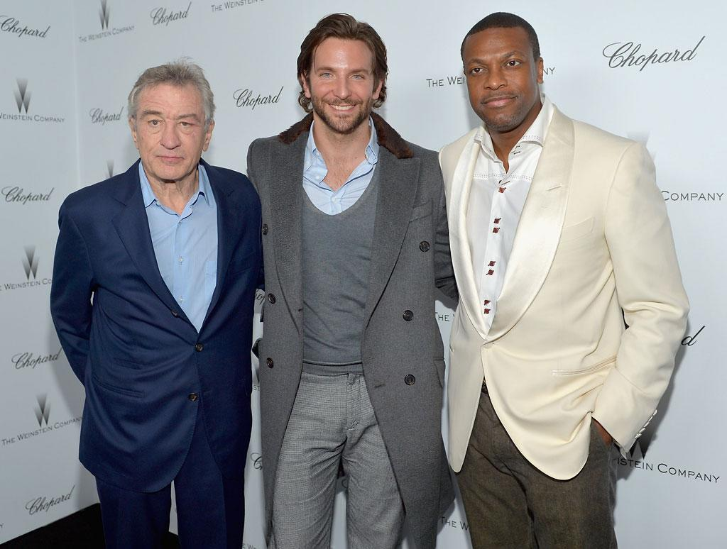 Robert De Niro, Bradley Cooper, and Chris Tucker attend The Weinstein Company and Chopard's Academy Award Party in association with Grey Goose at Soho House on February 23, 2013 in West Hollywood, California.
