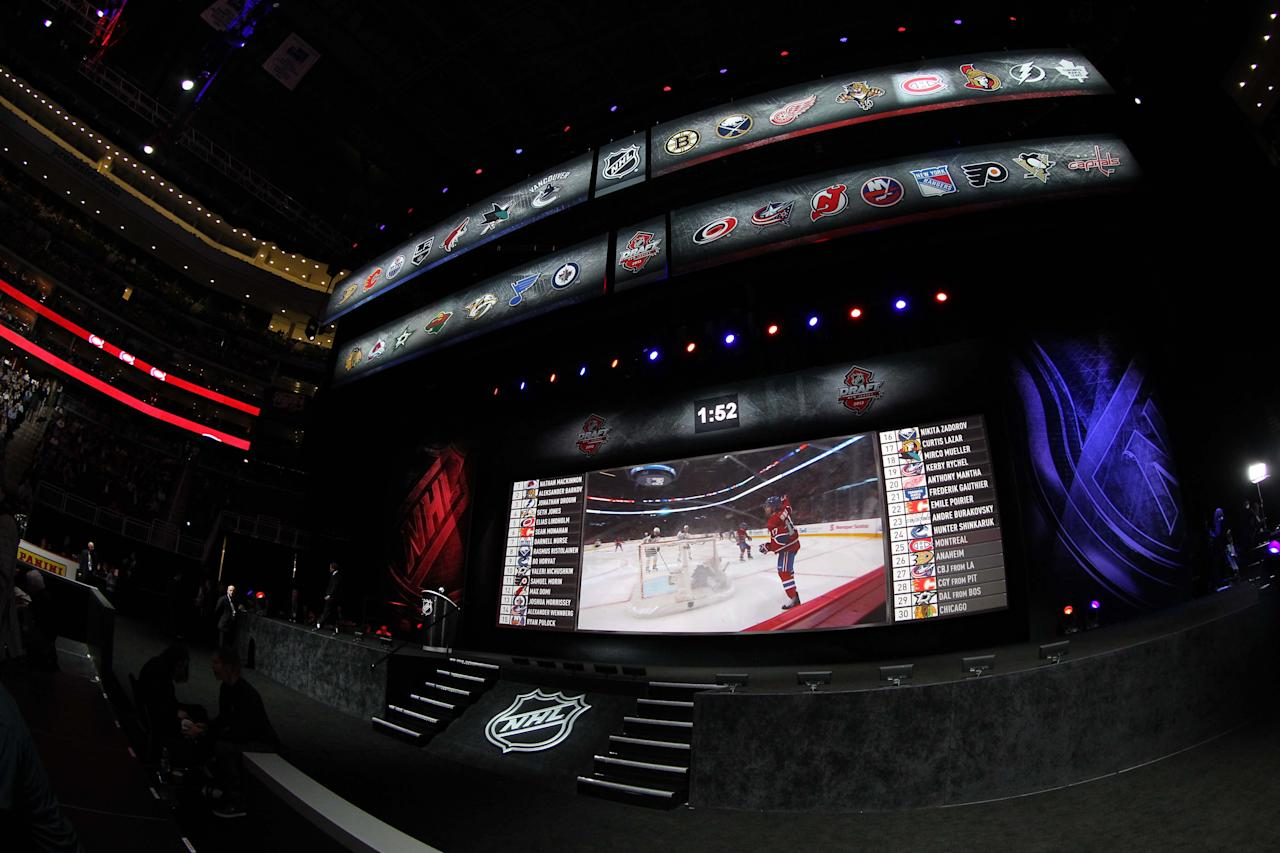 Jun 30, 2013; Newark, NJ, USA; A general view of the stage between picks during the 2013 NHL Draft at the Prudential Center. (Ed Mulholland-USA TODAY Sports)