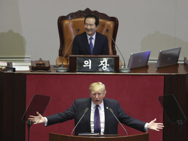 <p>President Donald Trump delivers a speech as South Korea's National Assembly Speaker Chung Sye-kyun, top, listens at the National Assembly in Seoul, South Korea, Wednesday, Nov. 8, 2017. (Photo: Lee Jin-man, Pool/AP) </p>