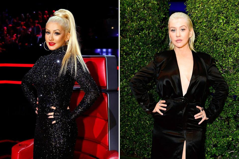 """<p>Even though Christina is known for her bold red lips, bright blonde hair, and elaborate performance-worthy clothing, with the release of her most recent album, <a href=""""https://www.amazon.com/Liberation-Christina-Aguilera/dp/B07CQR5T1L/?tag=syn-yahoo-20&ascsubtag=%5Bartid%7C2140.g.27285808%5Bsrc%7Cyahoo-us"""" rel=""""nofollow noopener"""" target=""""_blank"""" data-ylk=""""slk:Liberation"""" class=""""link rapid-noclick-resp"""">Liberation</a>, she's embraced a more natural look — but it's no less attention-grabbing.</p>"""