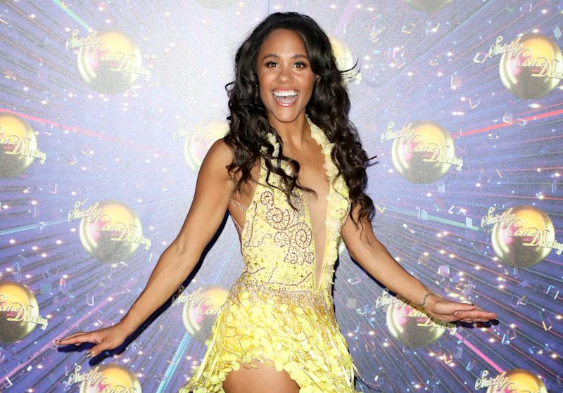 "LONDON, ENGLAND - AUGUST 26: Alex Scott attends the ""Strictly Come Dancing"" launch show red carpet at Television Centre on August 26, 2019 in London, England. (Photo by Lia Toby/Getty Images)"