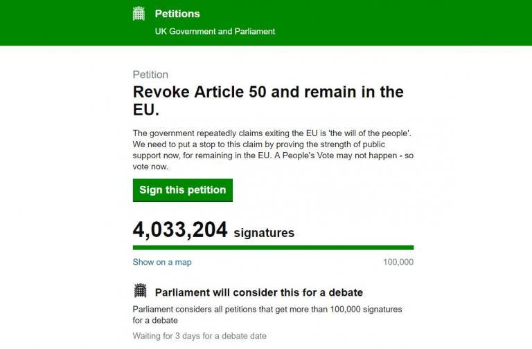 Revoke Article 50 petition calling for Brexit to be cancelled nears five million signatures