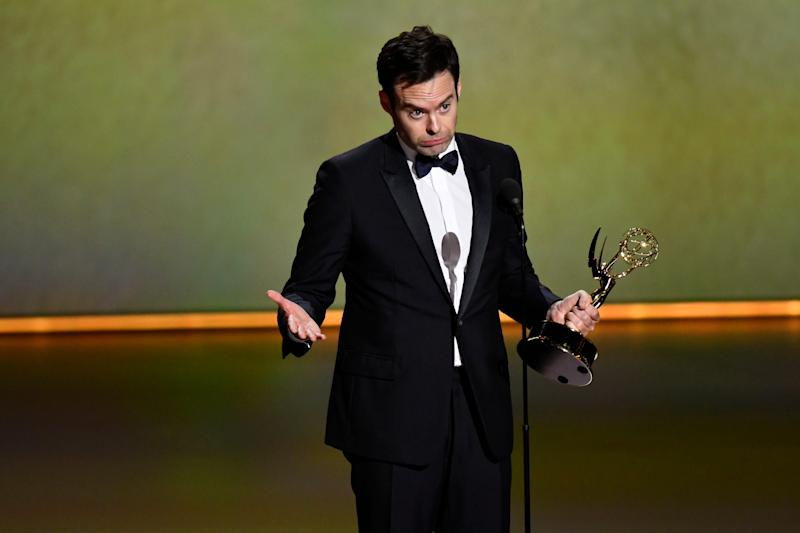 Bill Hader accepts the Emmy for lead actor in a comedy series - his second in as many years - for