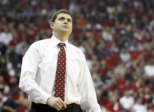 UNLV head coach Dave Rice reacts to a call during the first half of an NCAA college basketball game against San Diego State on Saturday, Feb. 11, 2012, in Las Vegas. (AP Photo/Isaac Brekken)