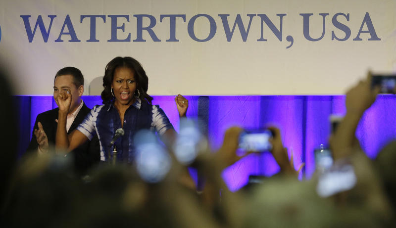 First Lady Michelle Obama participates in an event at Watertown High School  to encourage people to
