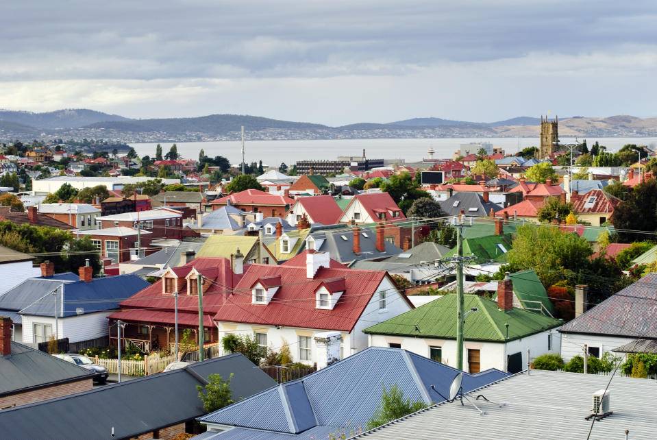 Colourful rooftops in the suburb of North Hobart, Hobart, Tasmania, Australia