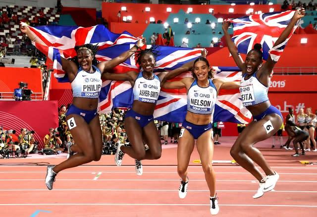 Dina Asher-Smith praised her team-mates after helping Great Britain to a silver medal (Martin Rickett/PA)