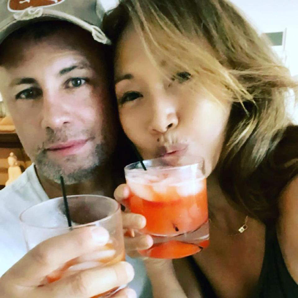 """<p>""""Sunday funday with my love ❤️ except it's Monday. ,"""" Inaba captioned this <a href=""""https://www.instagram.com/p/CQHzfrphhd8/"""" rel=""""nofollow noopener"""" target=""""_blank"""" data-ylk=""""slk:sweet photo"""" class=""""link rapid-noclick-resp"""">sweet photo</a> with her on-again, <a href=""""https://people.com/tv/carrie-ann-inaba-cuddles-with-ex-fabien-viteri-after-split/"""" rel=""""nofollow noopener"""" target=""""_blank"""" data-ylk=""""slk:off-again boyfriend"""" class=""""link rapid-noclick-resp"""">off-again boyfriend</a> <a href=""""https://people.com/tv/carrie-ann-inaba-ex-fabien-viteri-spotted-after-split/"""" rel=""""nofollow noopener"""" target=""""_blank"""" data-ylk=""""slk:Fabien Viteri"""" class=""""link rapid-noclick-resp"""">Fabien Viteri</a>, drinks in hand. </p>"""