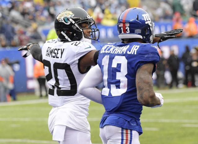 Jacksonville Jaguars cornerback Jalen Ramsey, left, taunts New York Giants' Odell Beckham (13) during the first half of an NFL football game Sunday, Sept. 9, 2018, in East Rutherford, N.J. (AP Photo/Bill Kostroun)