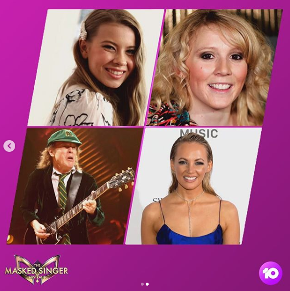 A composite photo of Nikki Webster, Bindi Irwin, singer Samantha Jade and AC/DC rocker Angus Young.