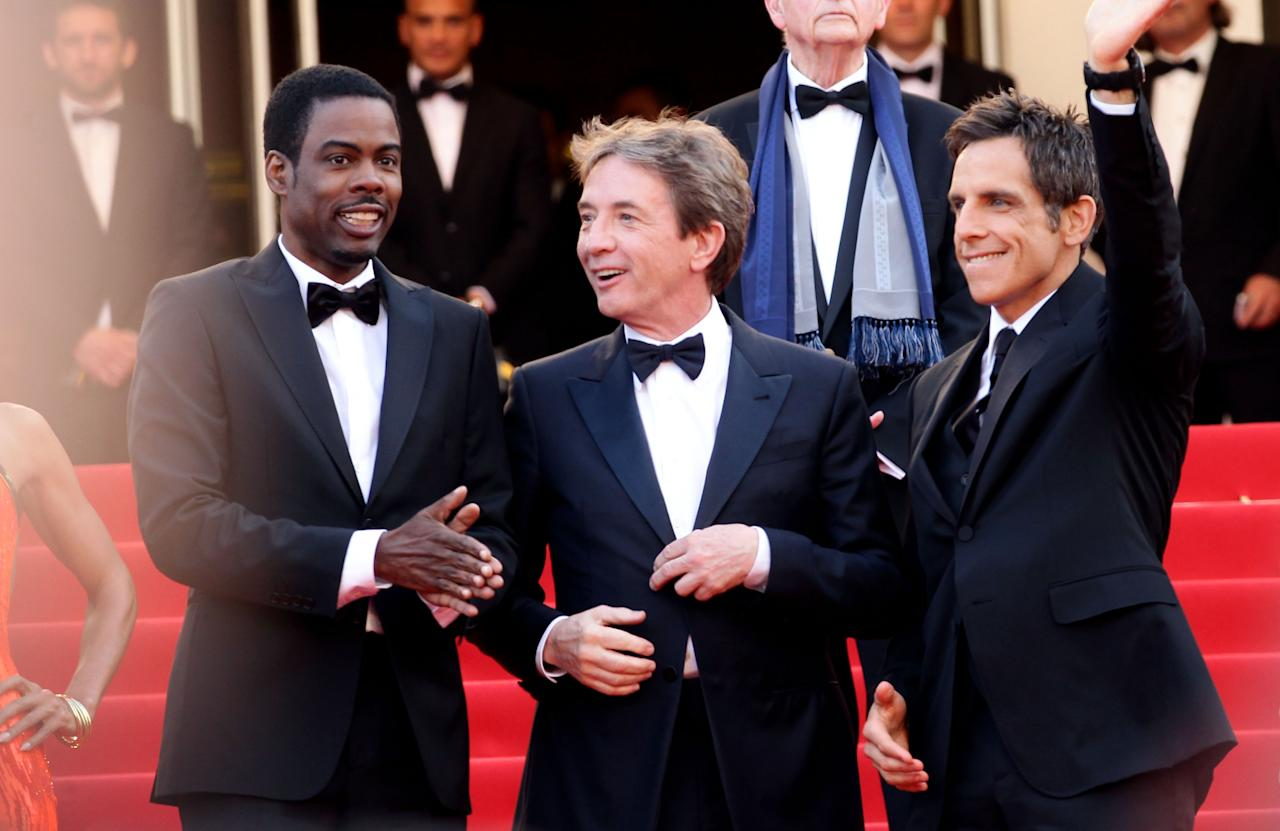 "CANNES, FRANCE - MAY 18:  (L-R) Chris Rock, Martin Short and Ben Stiller attend the ""Madagascar 3: Europe's Most Wanted"" Premiere during the 65th Annual Cannes Film Festival at Palais des Festivals on May 18, 2012 in Cannes, France.  (Photo by Vittorio Zunino Celotto/Getty Images)"